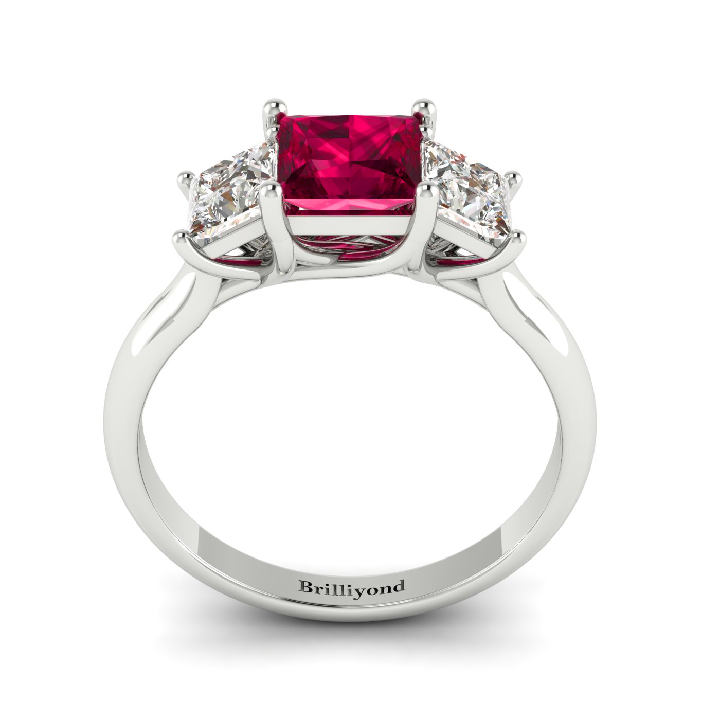 Ruby White Gold Princess Cut Engagement Ring Capri_image1