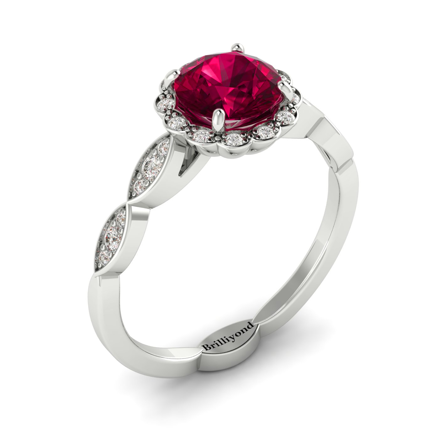 Floral Halo Engagement Ring with Ruby and Diamonds on 18k White Gold