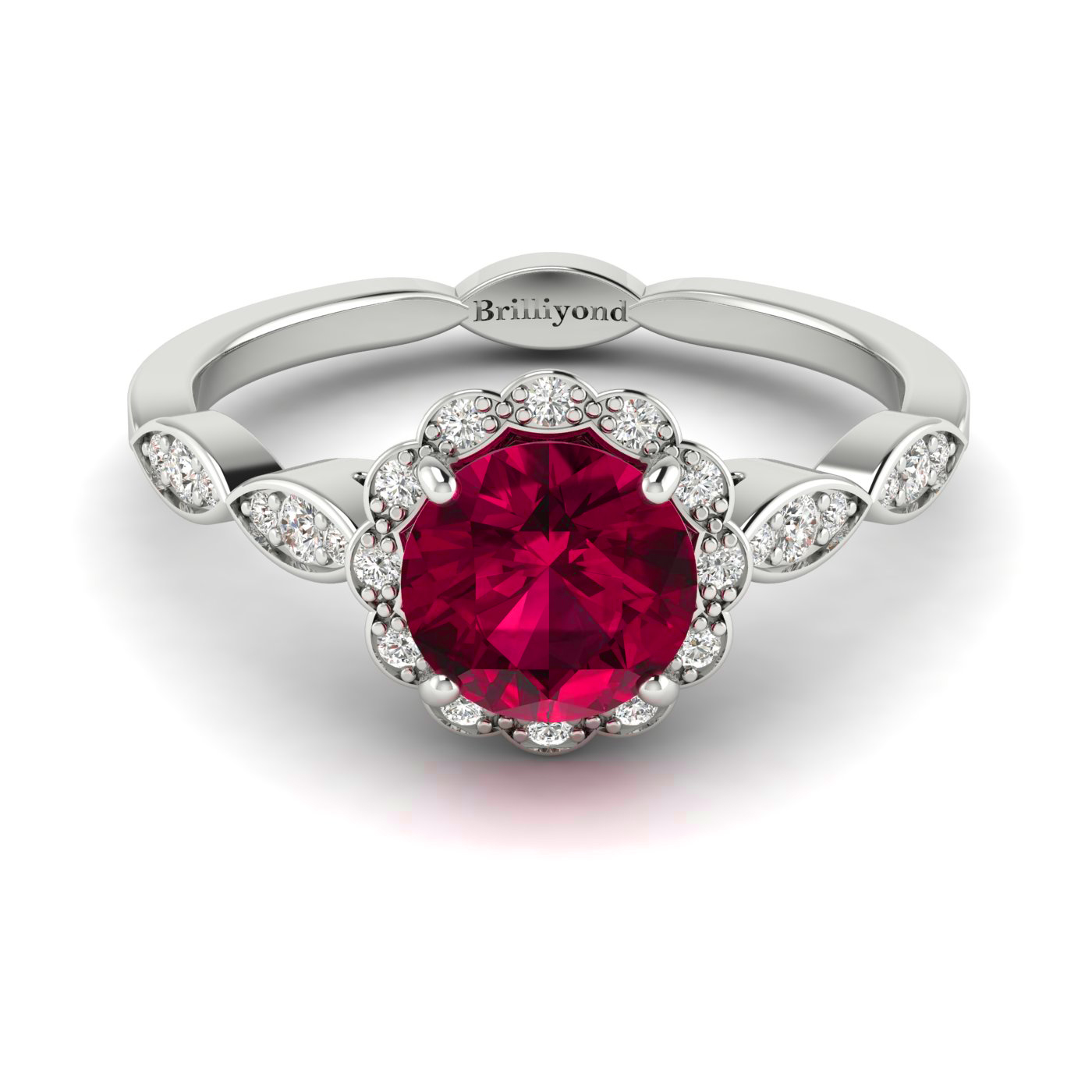 Diamond Accented Ruby Halo Engagement Ring