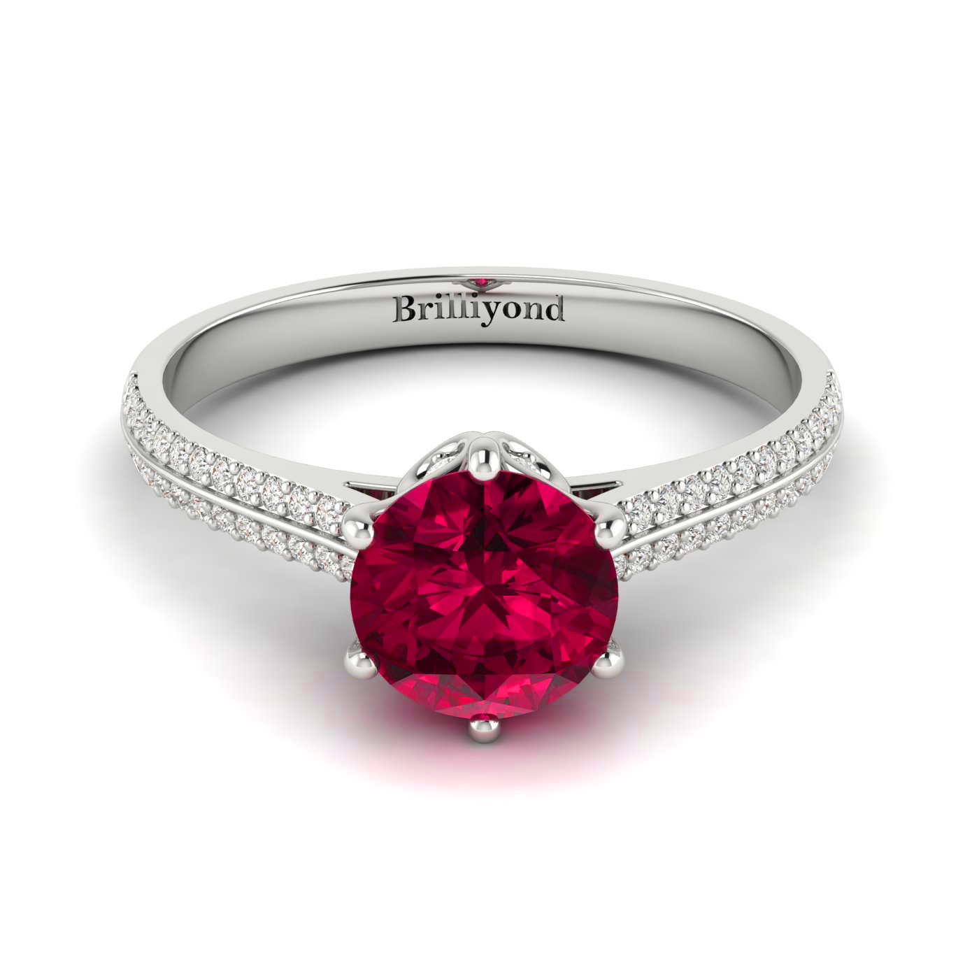 Ruby White Gold Round Engagement Ring Theia_image1