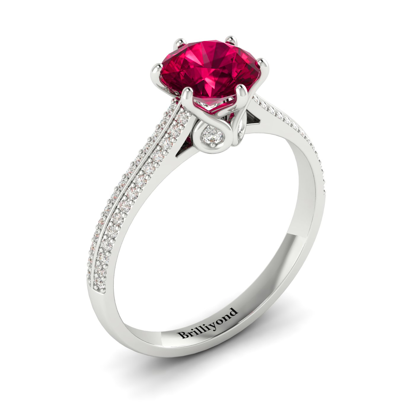 Ruby White Gold Round Engagement Ring Theia_image2