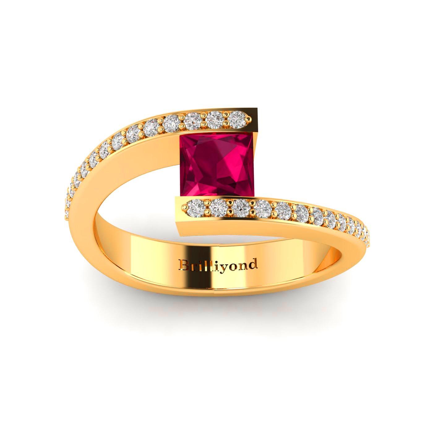 Ruby Yellow Gold Cushion Cut Engagement Ring Sheba