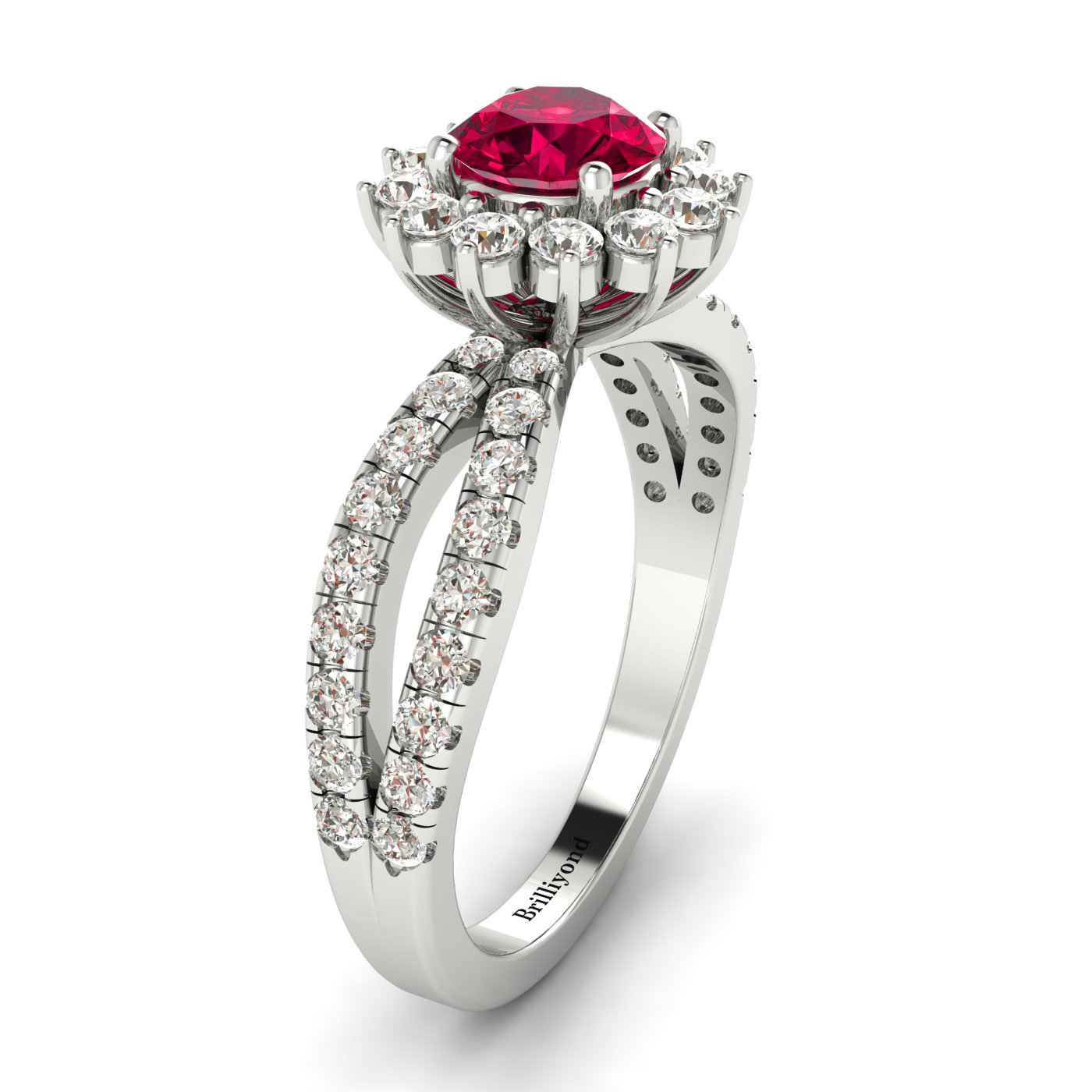 Ruby and Conflict-free Diamonds on 18k White Gold Band