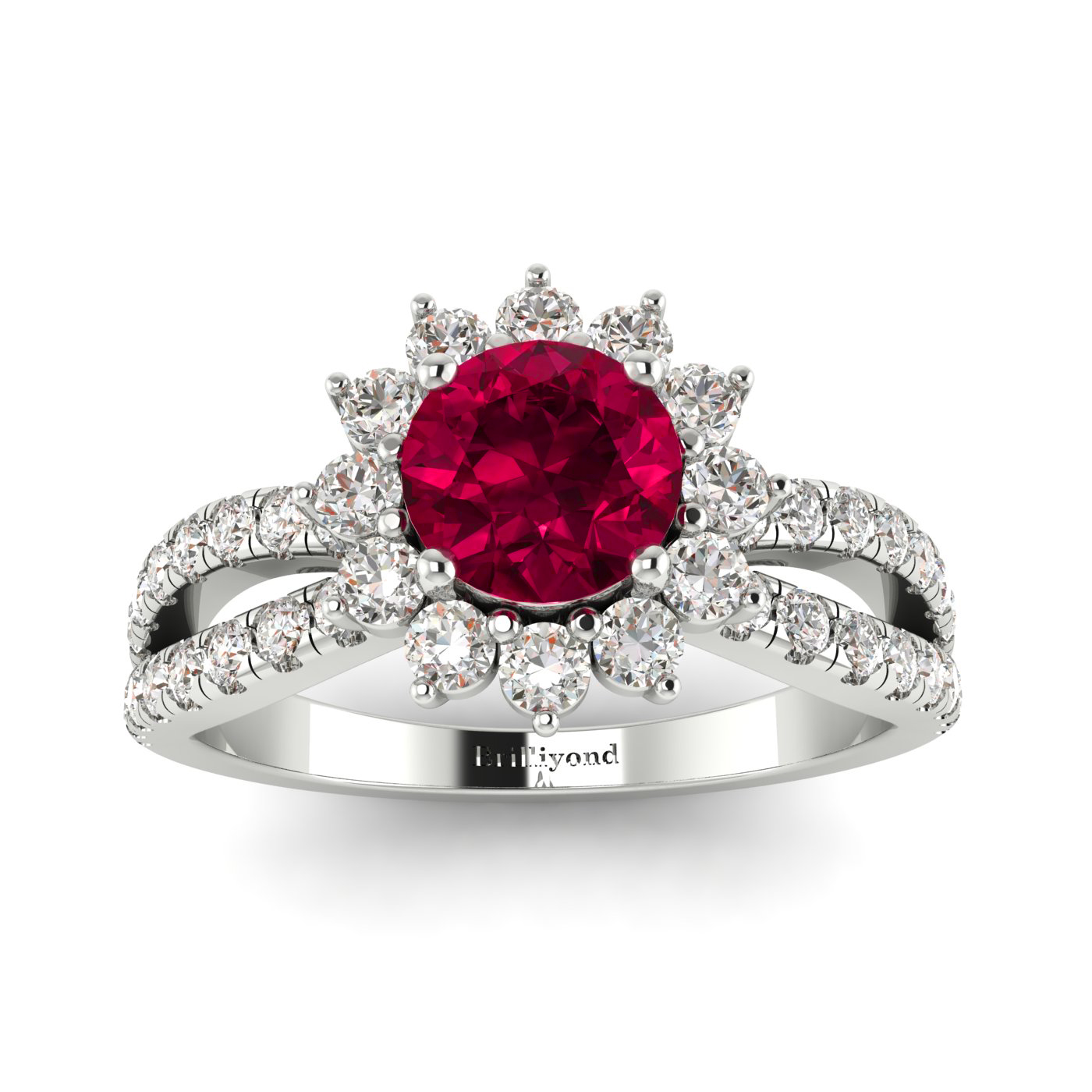 Floral inspired Ruby Ring with Diamond Accents