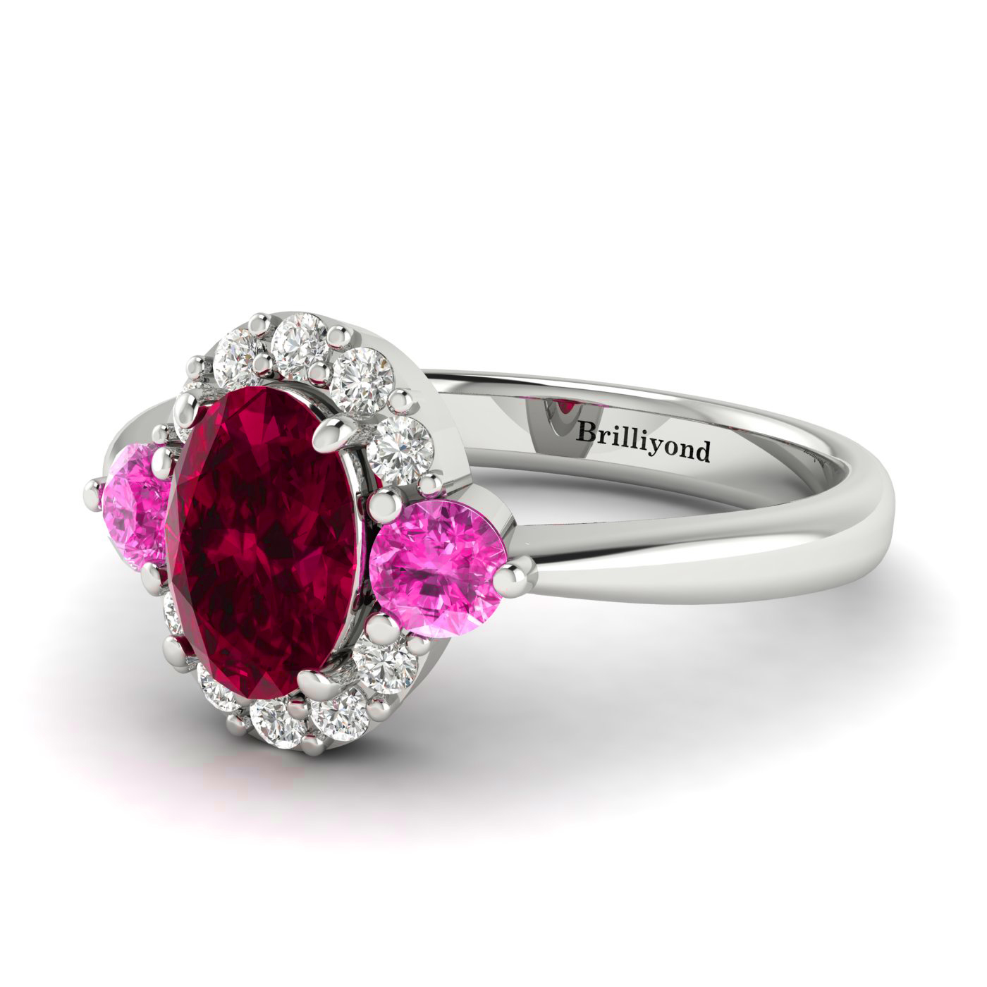 White Gold Sapphire Accented Ruby Engagement Ring by Brilliyond