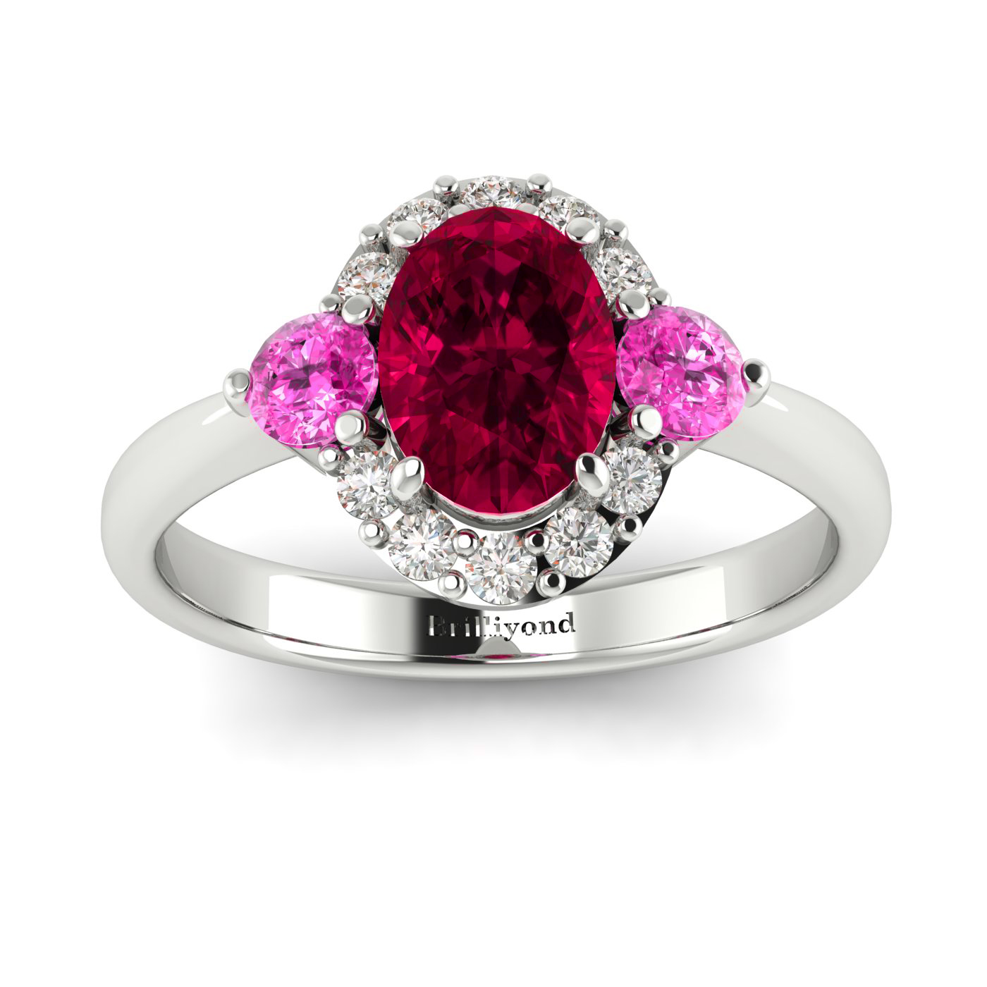 Oval Cut Red Ruby with Pink Ceylon Sapphires and Conflict-free Diamonds