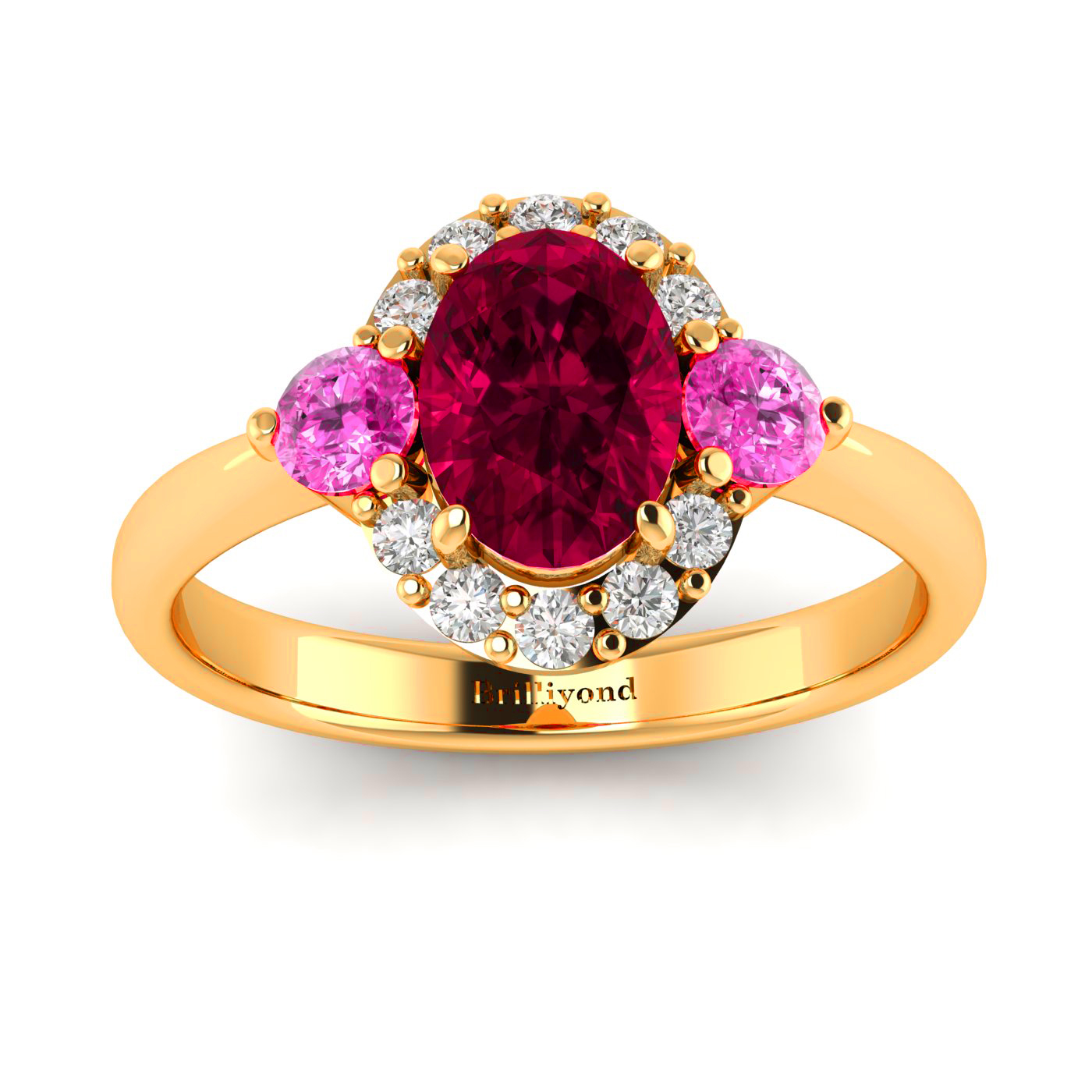 Oval Ruby Gem with Pink Sapphire Accents on 18k Yellow Gold Band