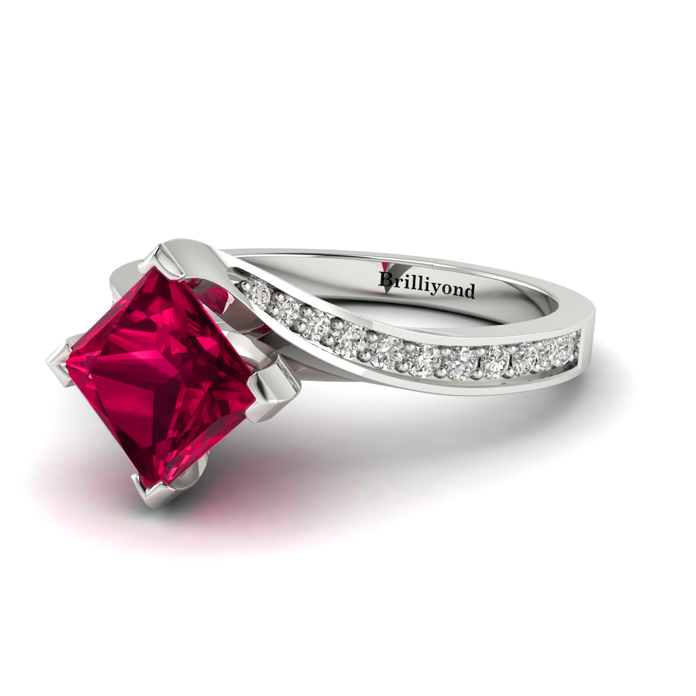 18k White Gold Cushion Cut Ruby Ring with Diamond Accents by Brilliyond Australia