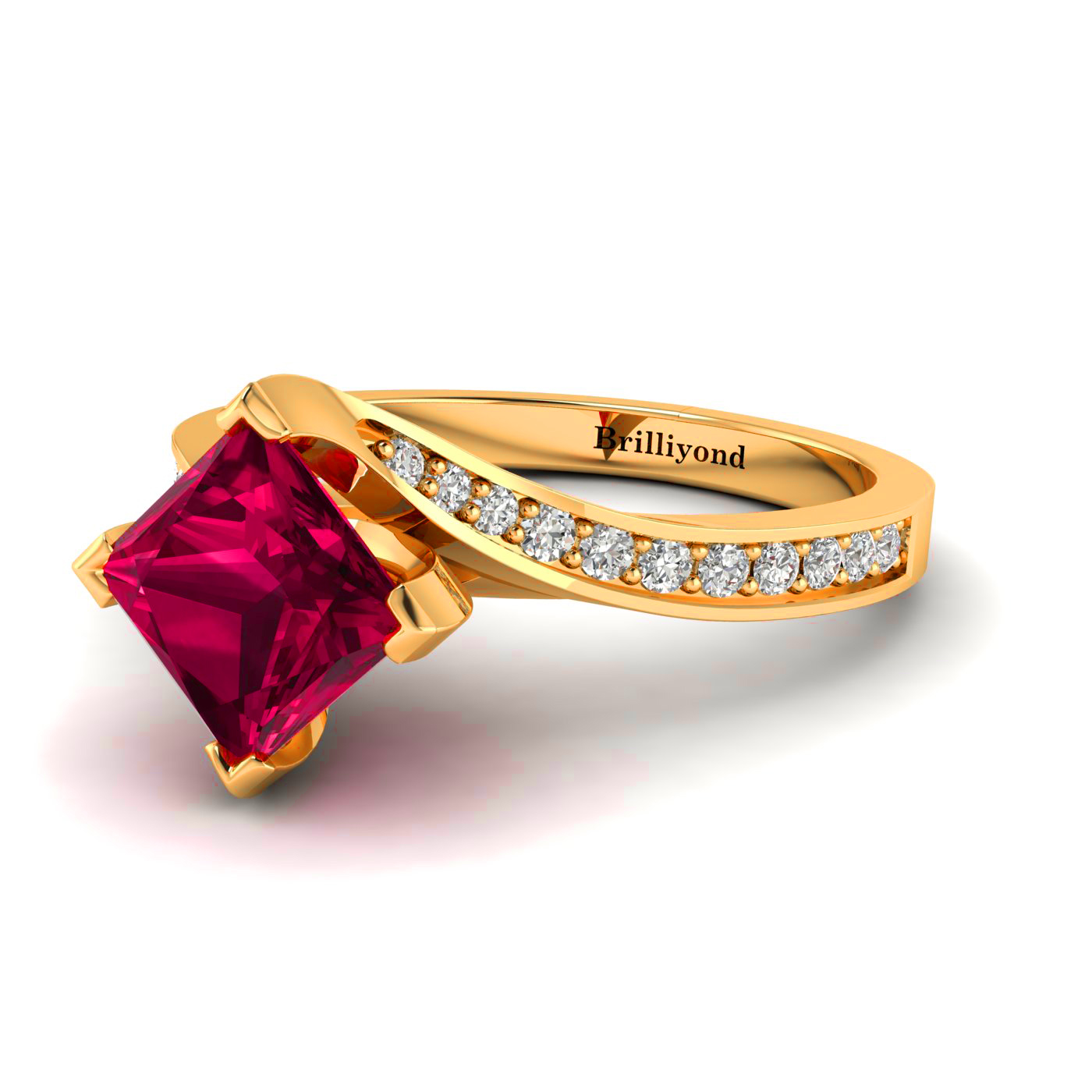 Cushion Cut Red Ruby on a Semi-twisted 18k Yellow Gold Band