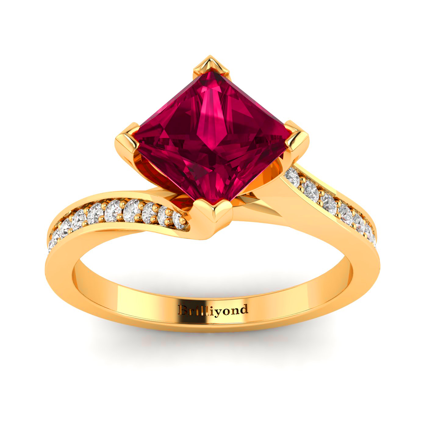 Cushion Cut Ruby Ring with 22 Diamond Accents