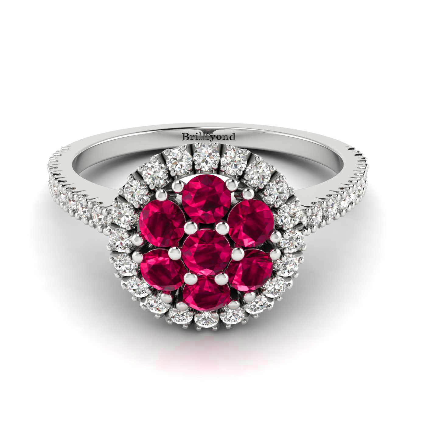 7 x 2.5mm Ruby with 40 Diamond Accents on 18k White Gold Band