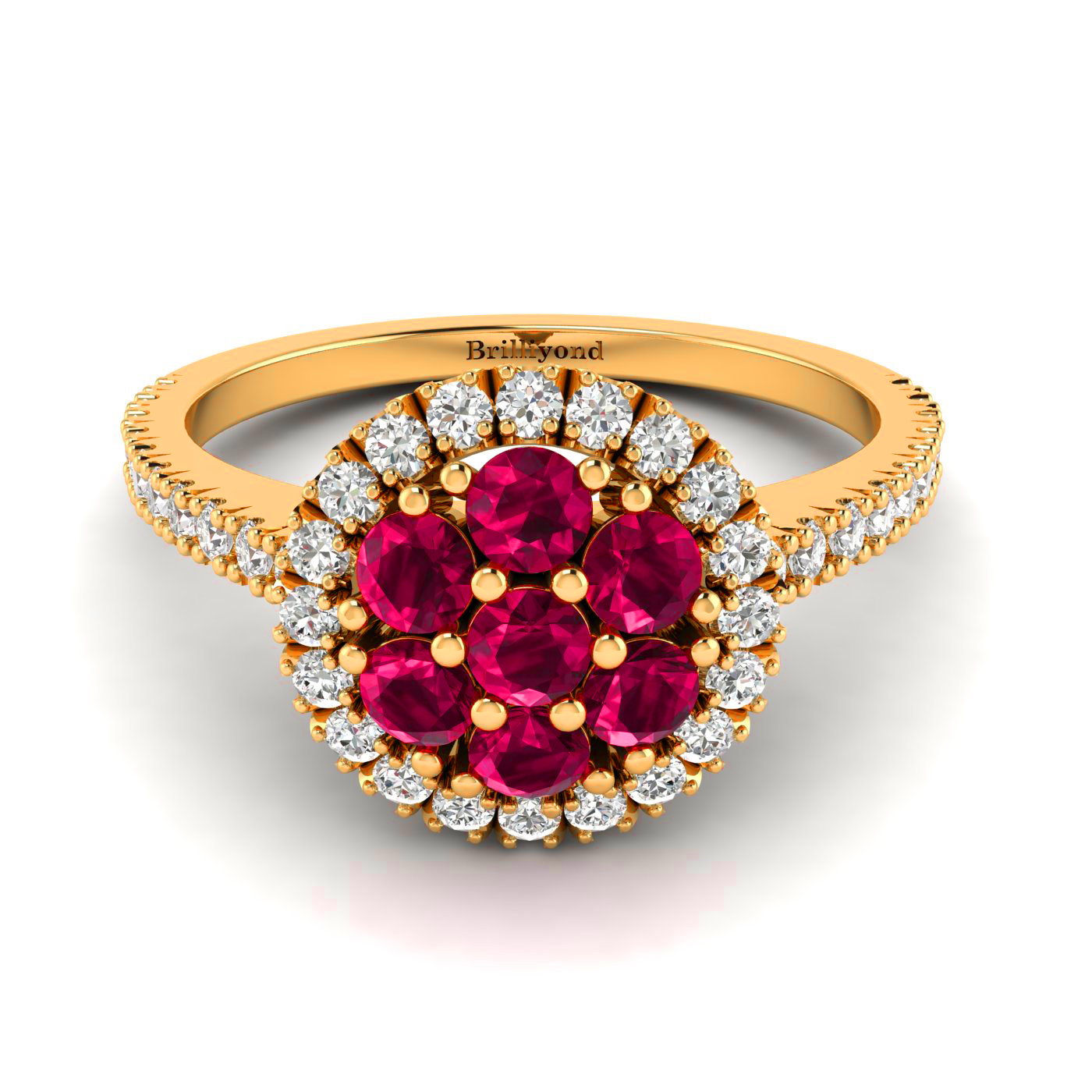 7 x 2.5mm Ruby and 40 x Accent Diamonds on 18k Yellow Gold Band