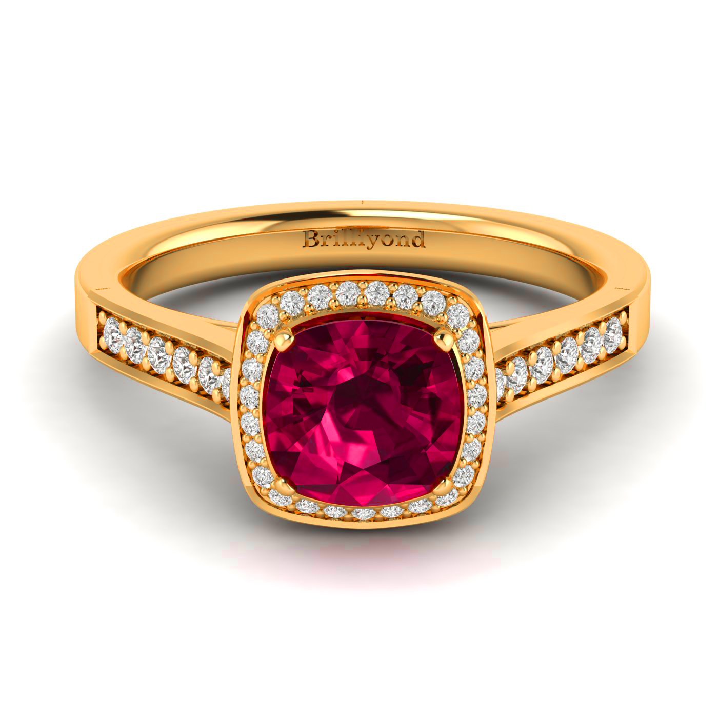 Cushion Cut Red Ruby with Accent Diamond Halo on Yellow Gold