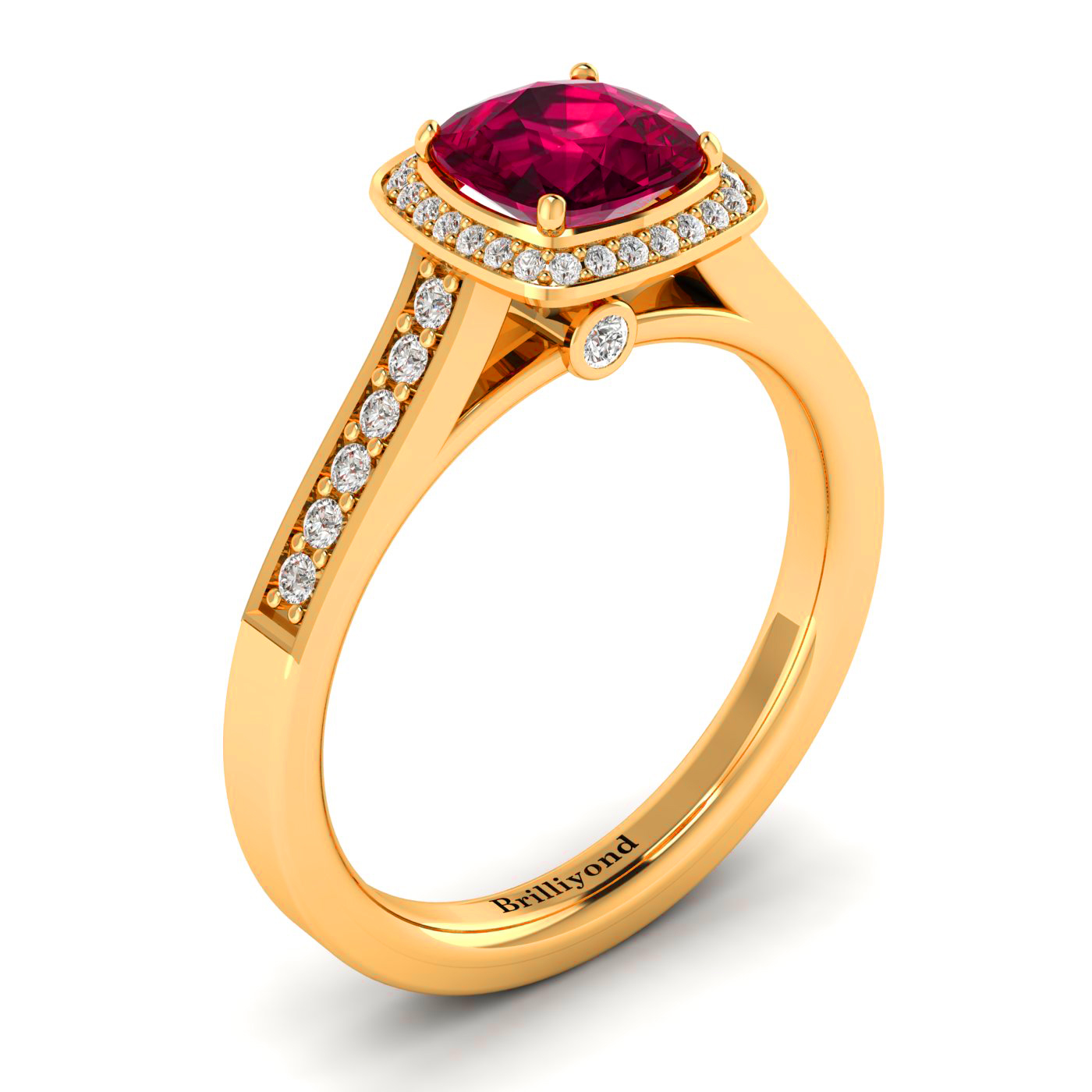Diamond Accented Ruby Cushion Cut Engagement Ring by Brilliyond Australia