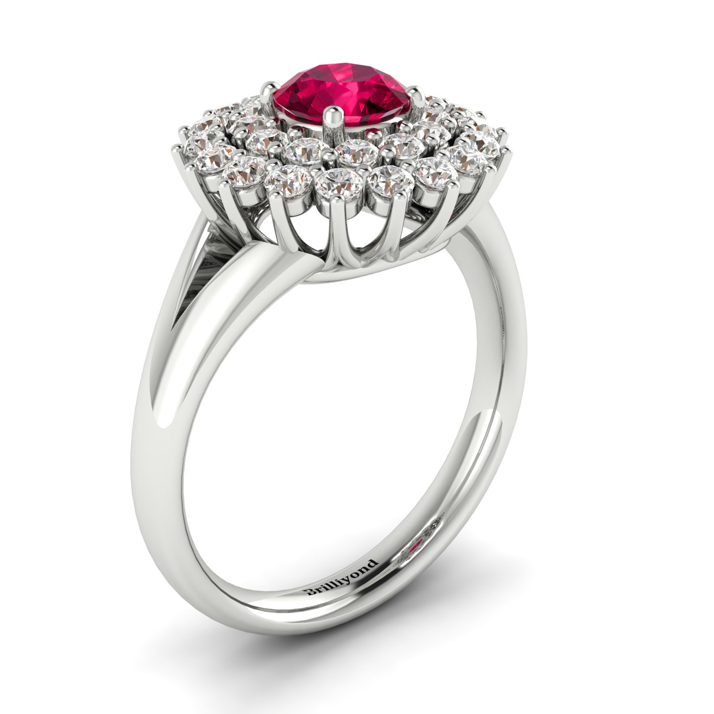 18k White Gold Cluster Engagement Ring with Ruby and Diamonds