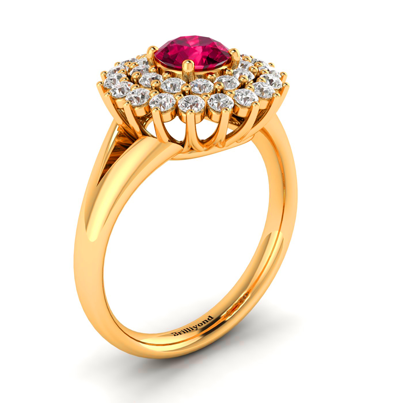 Ruby Cluster Engagement Ring with Diamond Halo in 18k Yellow Gold Band