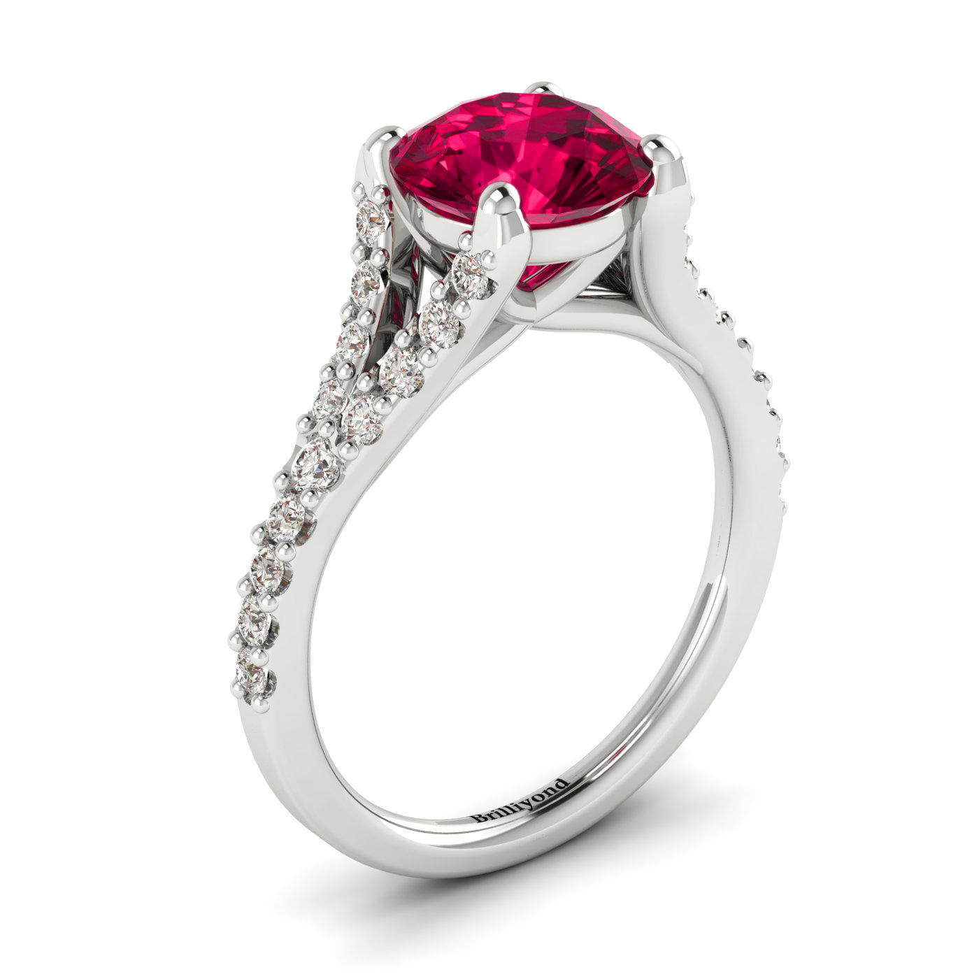 Red Ruby and Conflict-free Diamonds on 18k White Gold Band