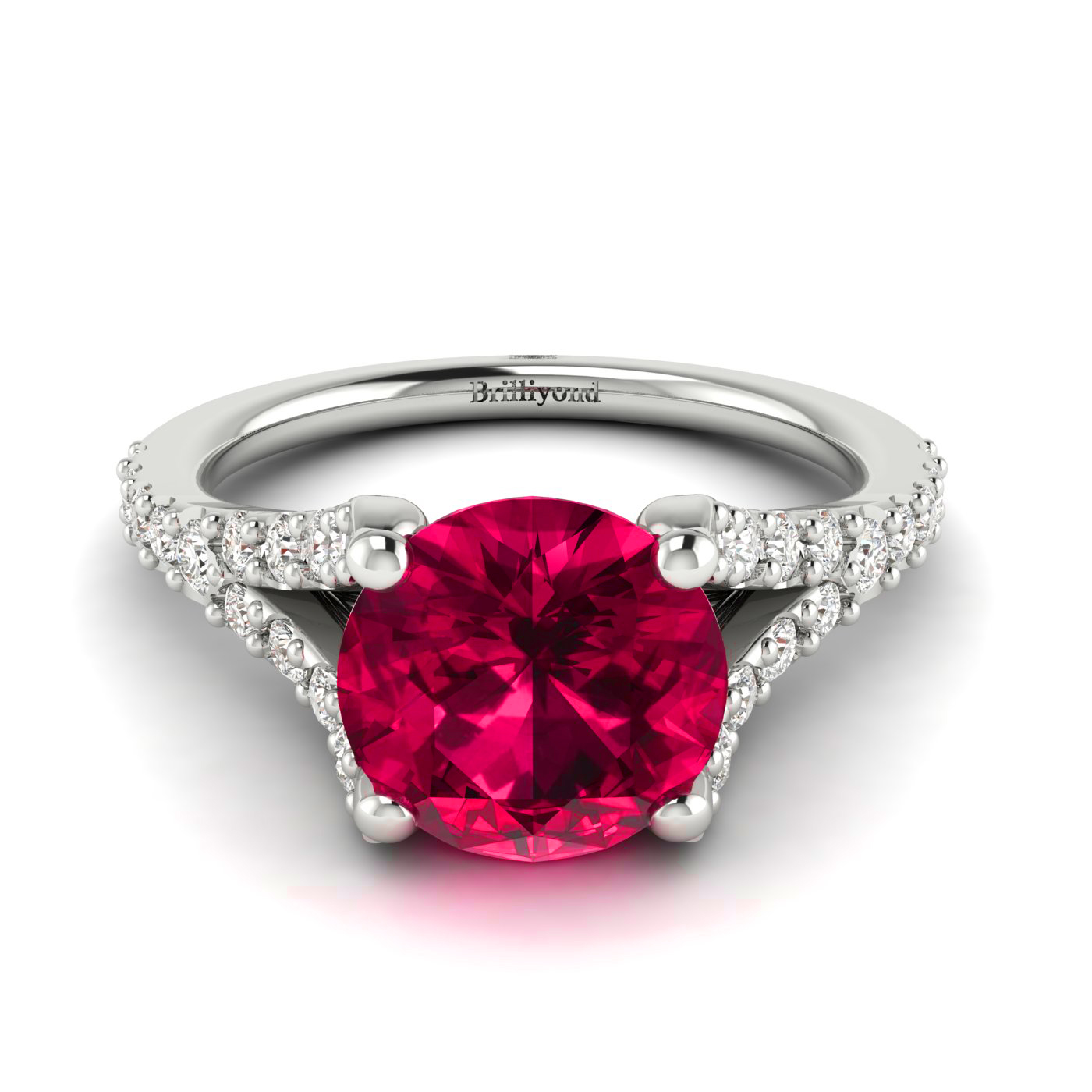 Close-up view of the 6.5mm Red Ruby with Diamond Paves