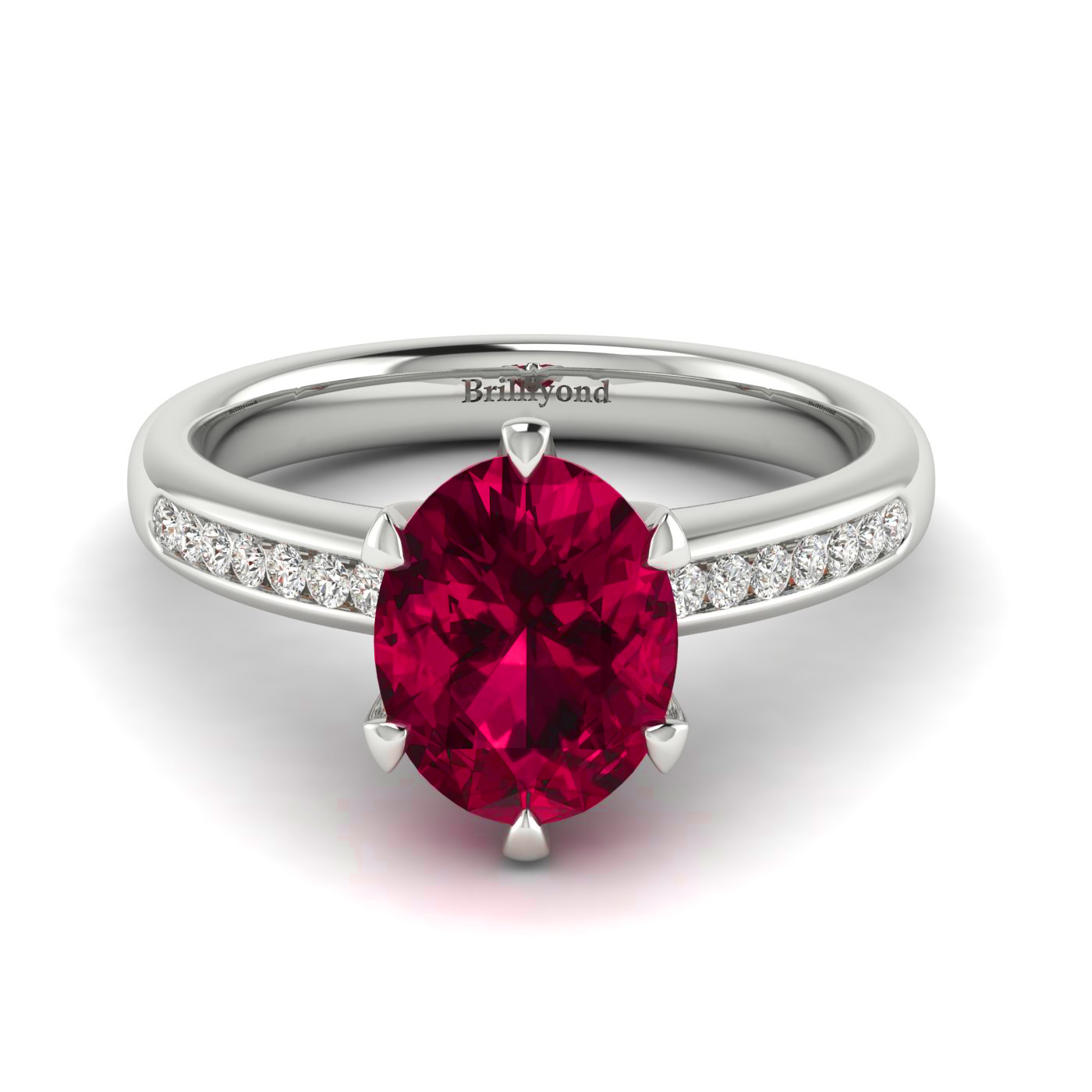 Oval Engagement Ring with Ruby Centre Stone and Diamond Accents