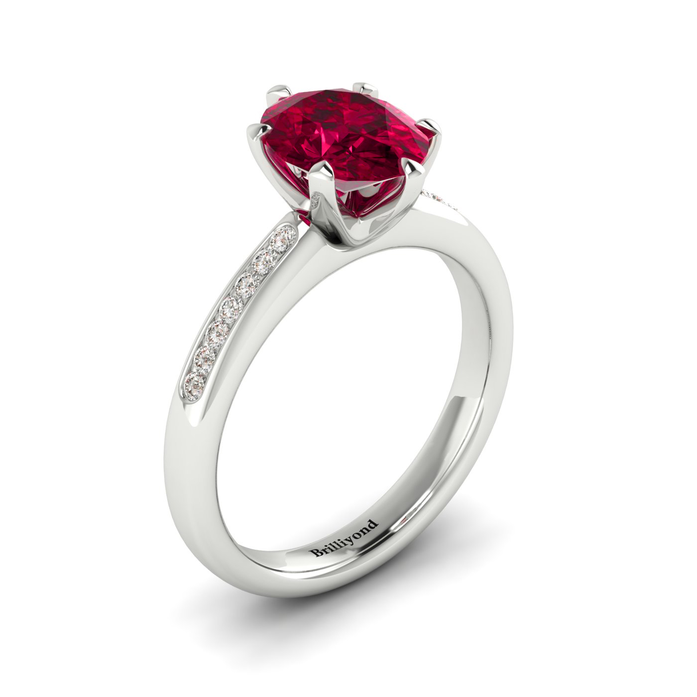 Brilliyond Ruby Oval Engagement Ring Nymph in a White Gold Setting