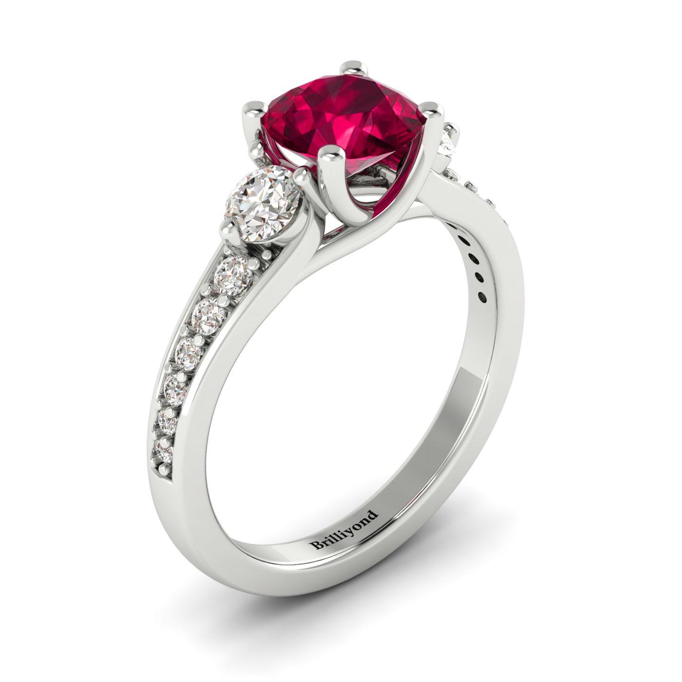 18k White Gold Ruby and Diamonds Three Stone Engagement Ring Sorento