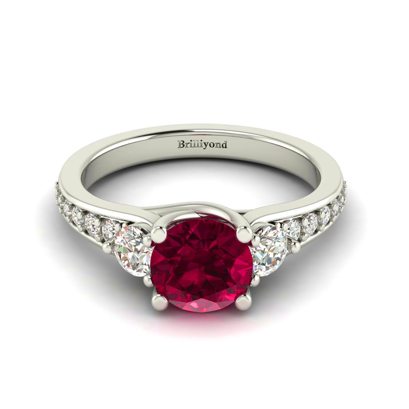 6mm Ruby with Conflict-free Diamonds on 18k White Gold