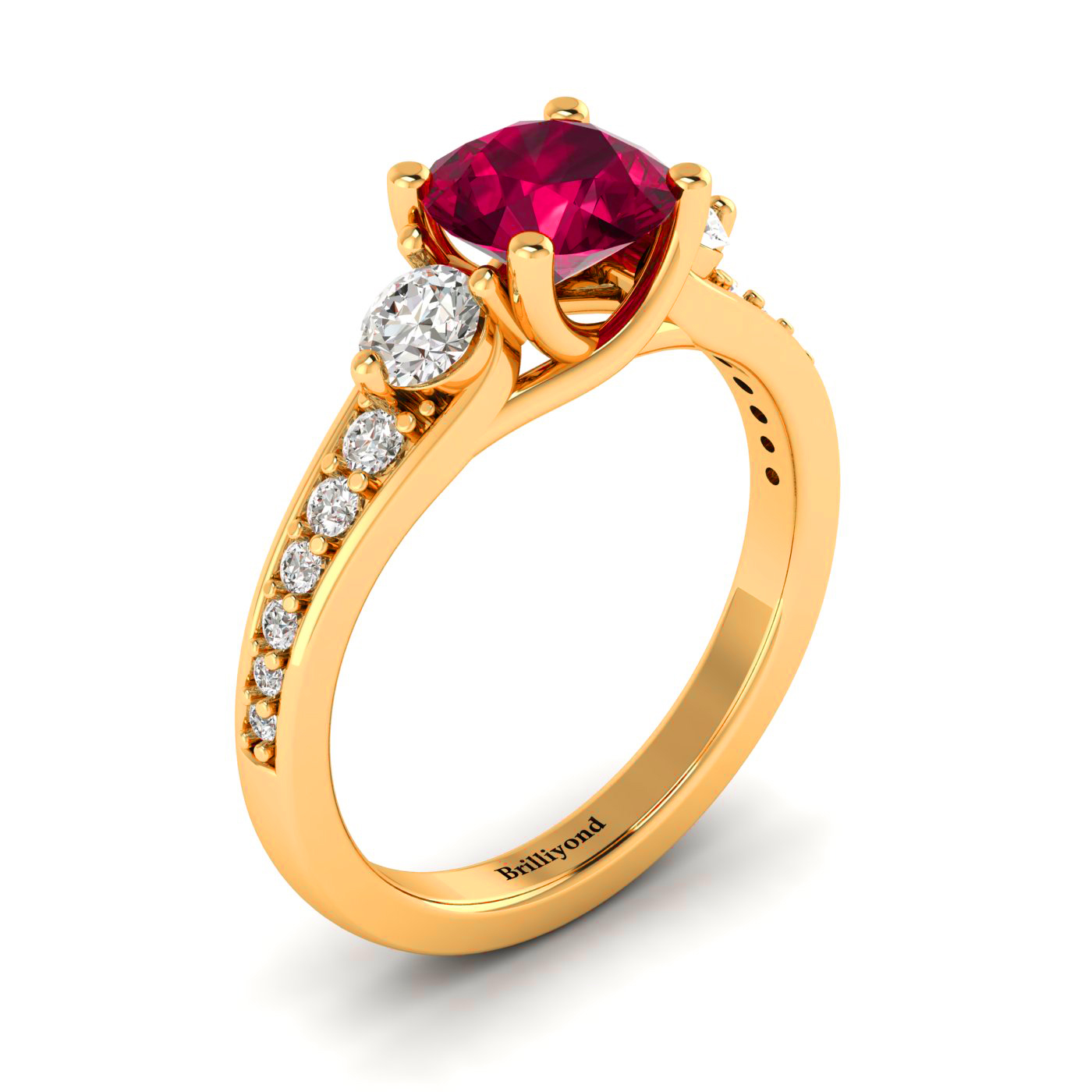6mm Round Ruby on 18k Yellow Gold