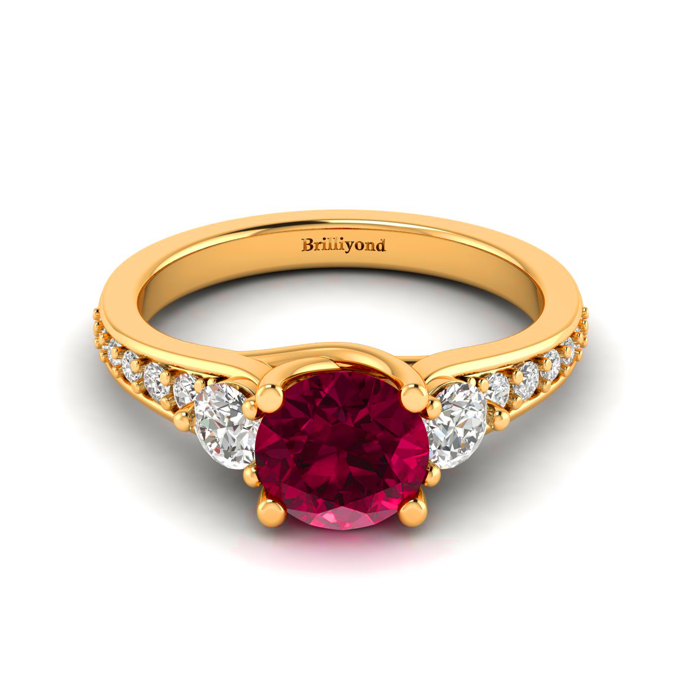 Red Ruby and Diamonds Three Stone Engagement Ring by Brilliyond