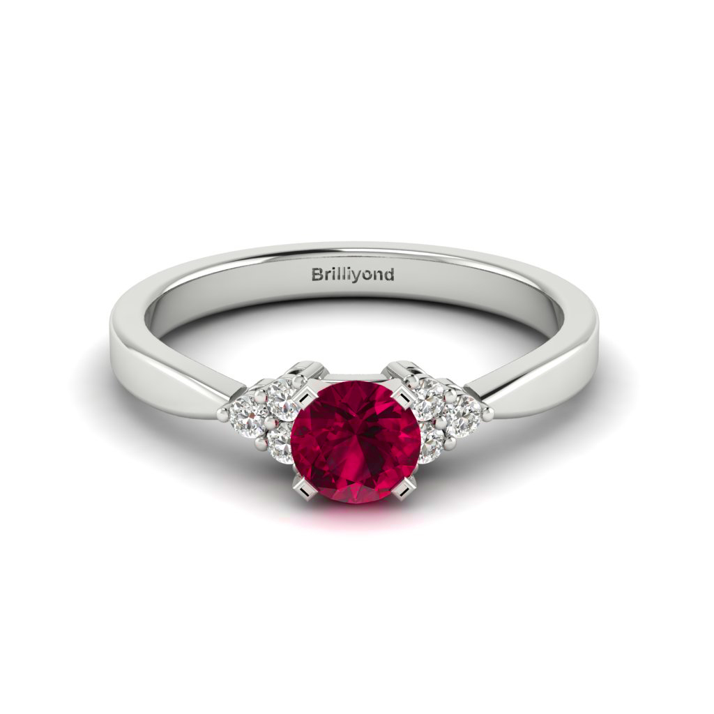 Ruby Brilliant Cut Engagement Ring set in White Gold