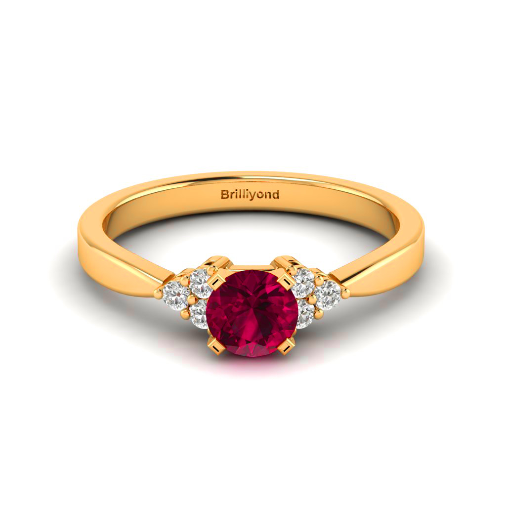 4mm Round Ruby with 6 Diamond Accents on Yellow Gold
