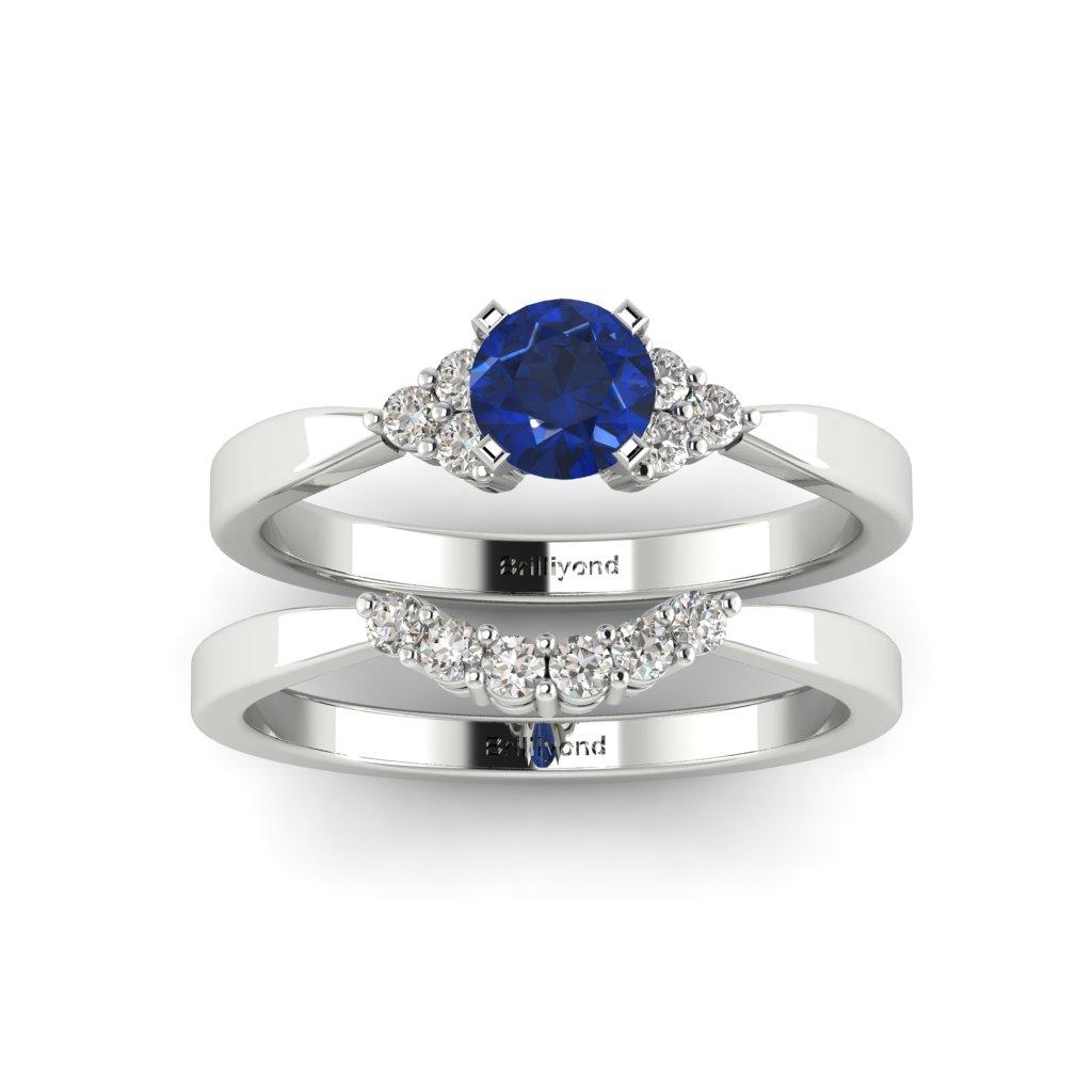 Blue Sapphire Brilliant Cut Engagement Ring and Diamond White Gold Wedding Band Pair Jasmine_image3