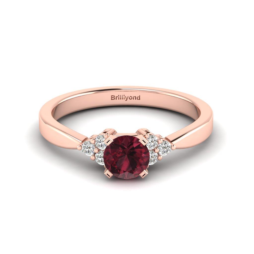 Garnet Brilliant Cut Engagement Ring set in 18k Rose Gold Jasmine_image1