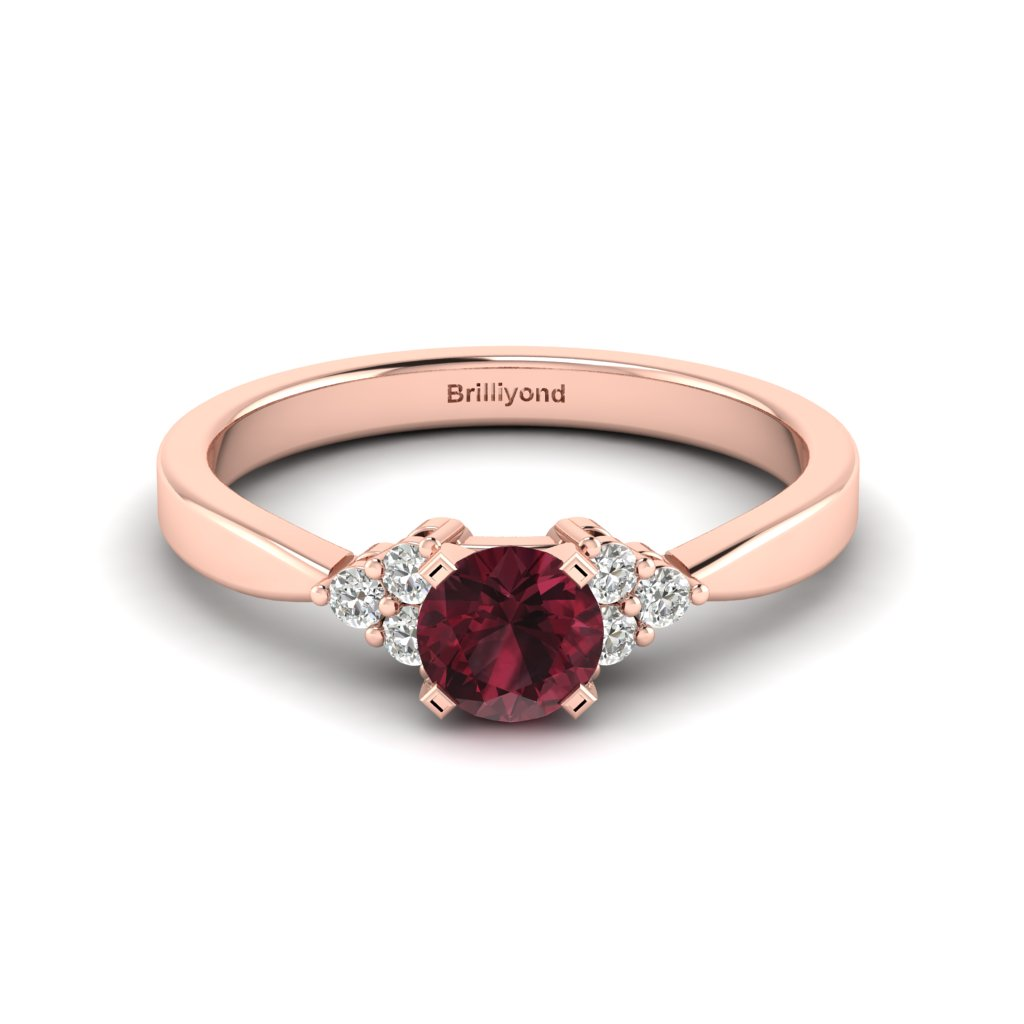 Garnet Brilliant Cut Engagement Ring set in 18k Rose Gold Jasmine