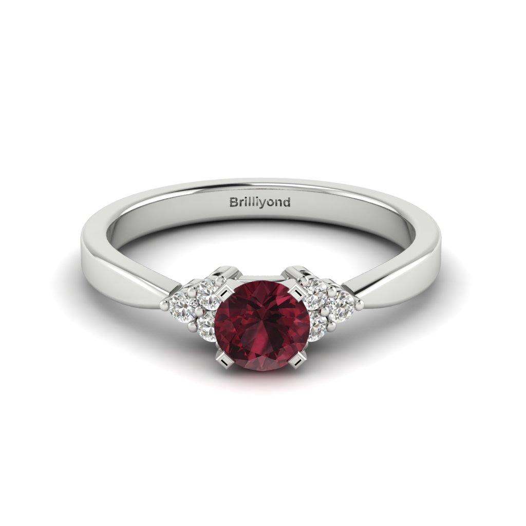 Garnet Brilliant Cut Engagement Ring set in 18k White Gold Jasmine