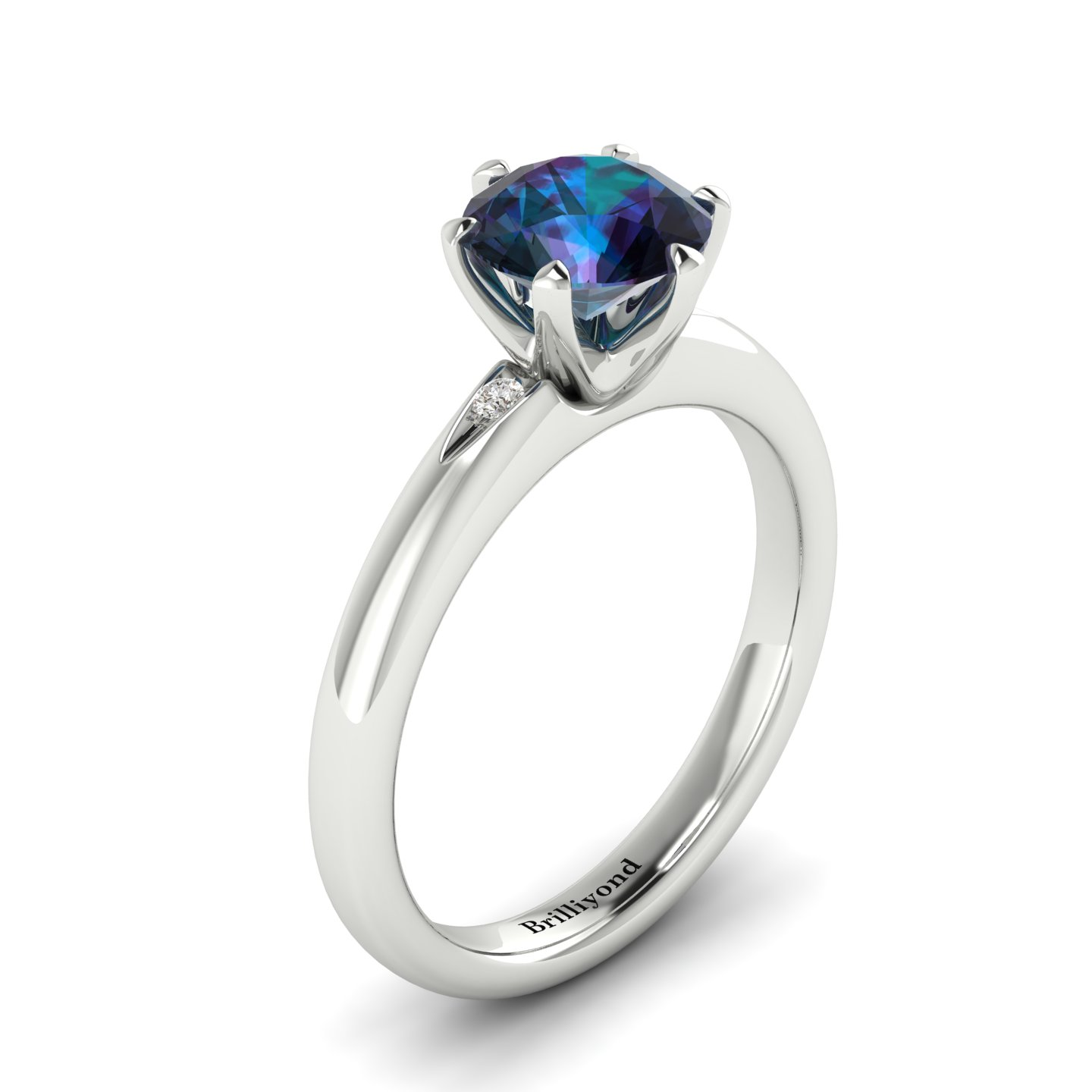 Alexandrite White Gold Solitaire Engagement Ring Byond_image1