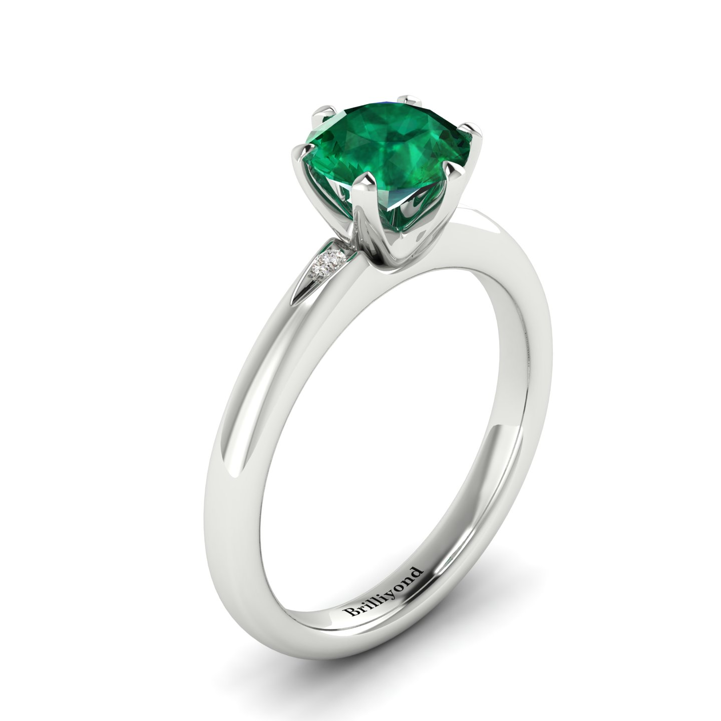 Emerald White Gold Solitaire Engagement Ring Byond_image1