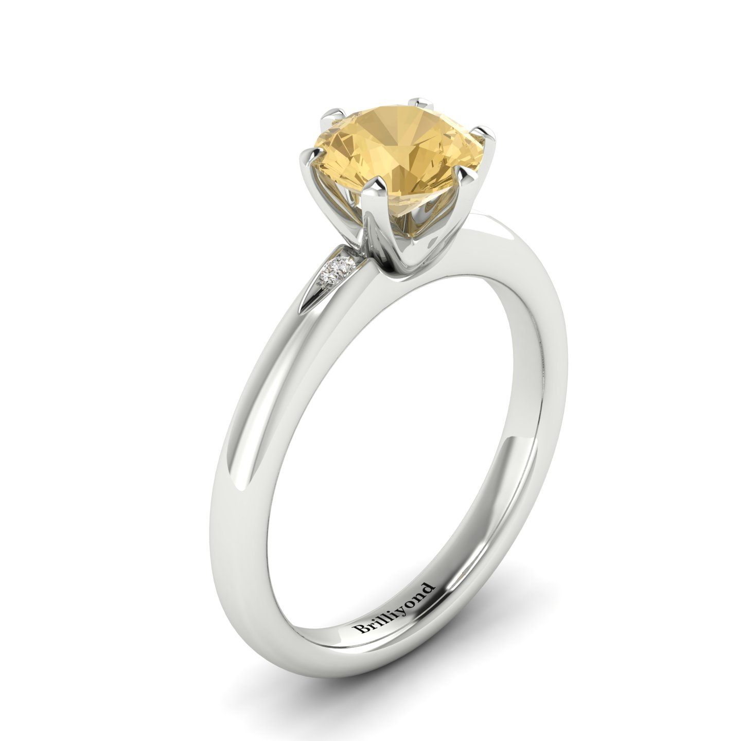 Golden Topaz White Gold Solitaire Engagement Ring Byond_image1