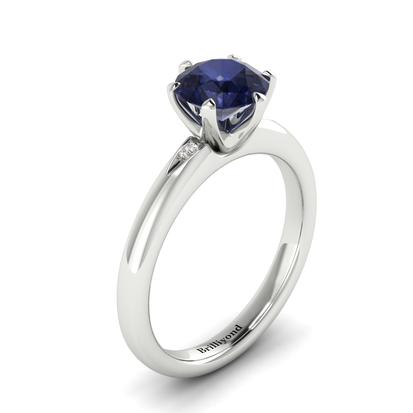 Iolite White Gold Solitaire Engagement Ring Byond_image1