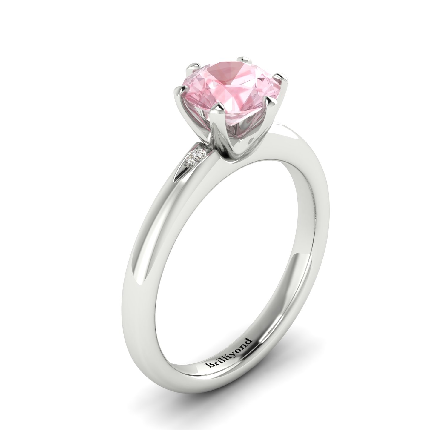 Morganite White Gold Solitaire Engagement Ring Byond