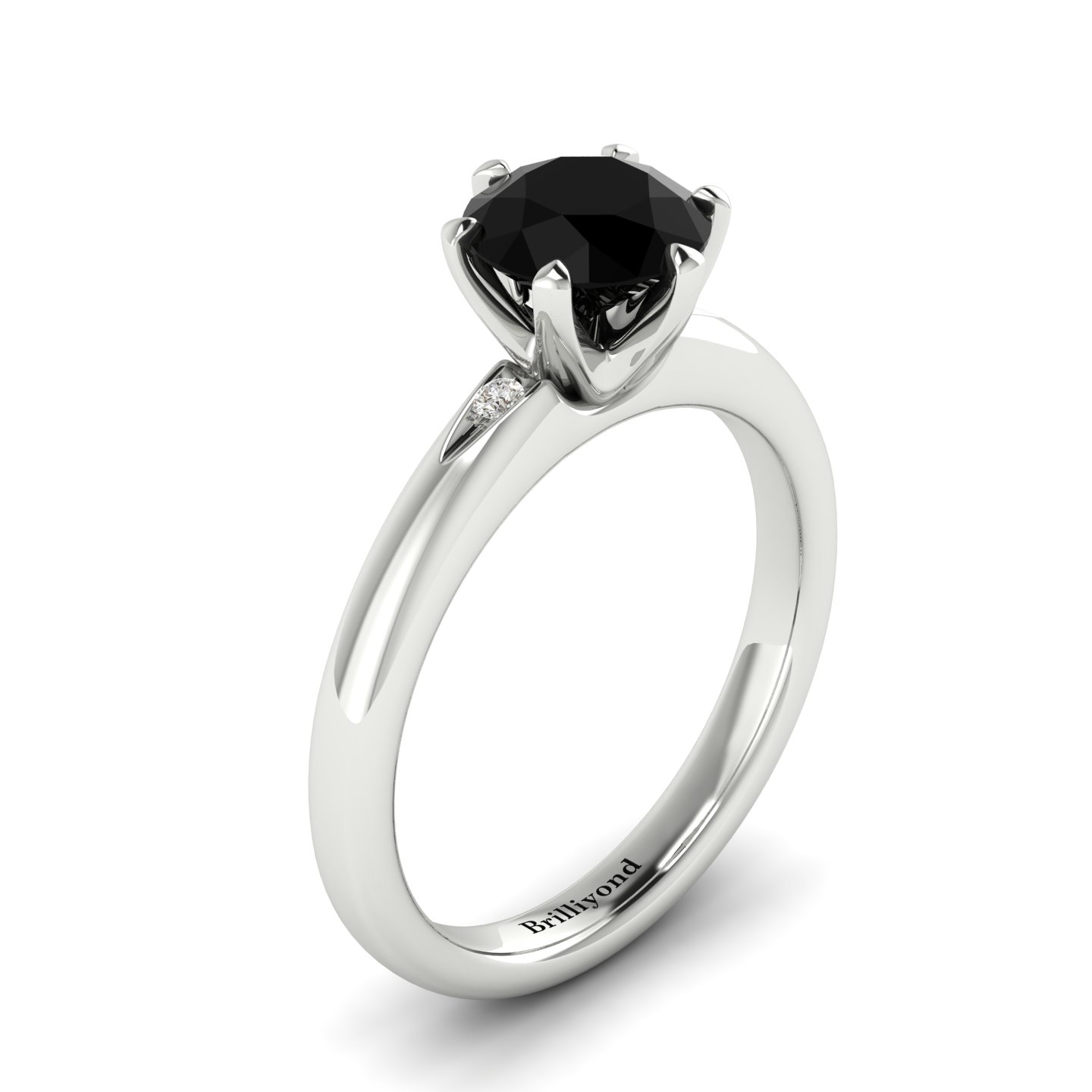 Onyx White Gold Solitaire Engagement Ring Byond_image1