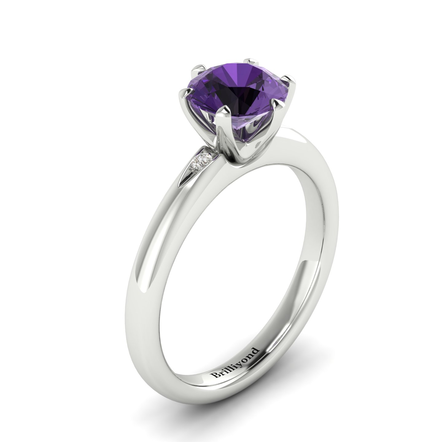 Purple Sapphire White Gold Solitaire Engagement Ring Byond_image1