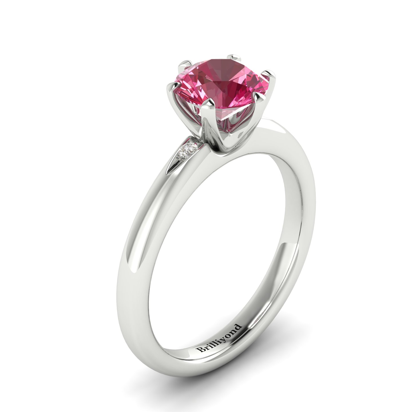 Rhodolite Garnet White Gold Solitaire Engagement Ring Byond_image1