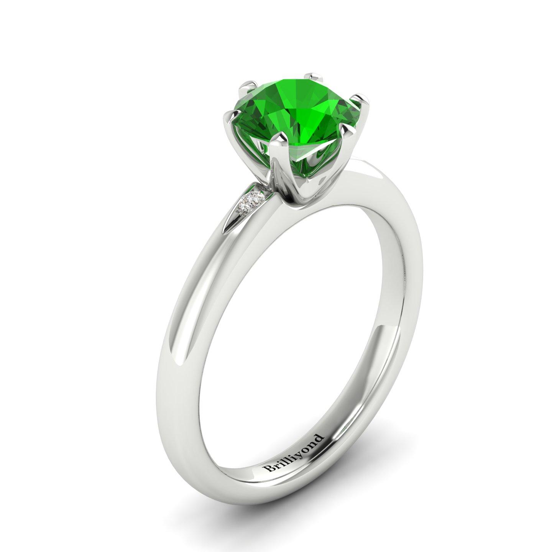 Tsavorite Garnet White Gold Solitaire Engagement Ring Byond_image1