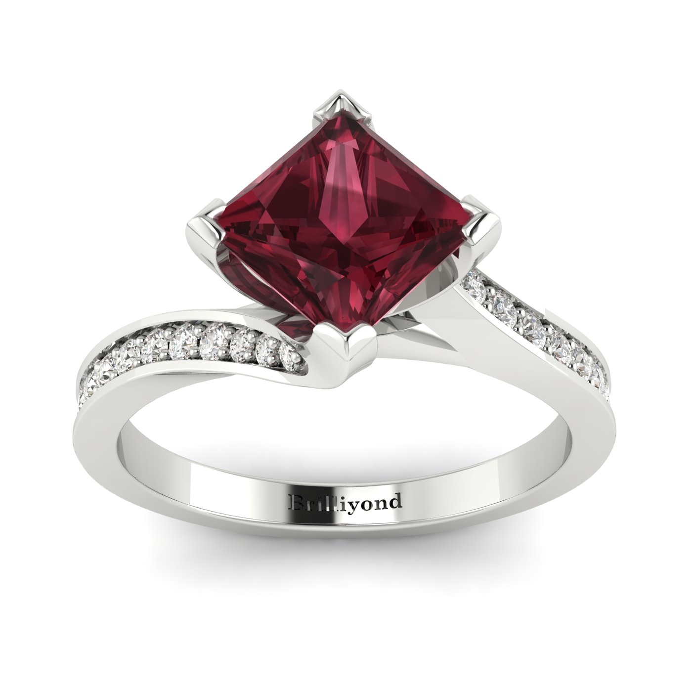 Garnet White Gold Cushion Cut Engagement Ring Luxy with White Sapphire Accents_image1