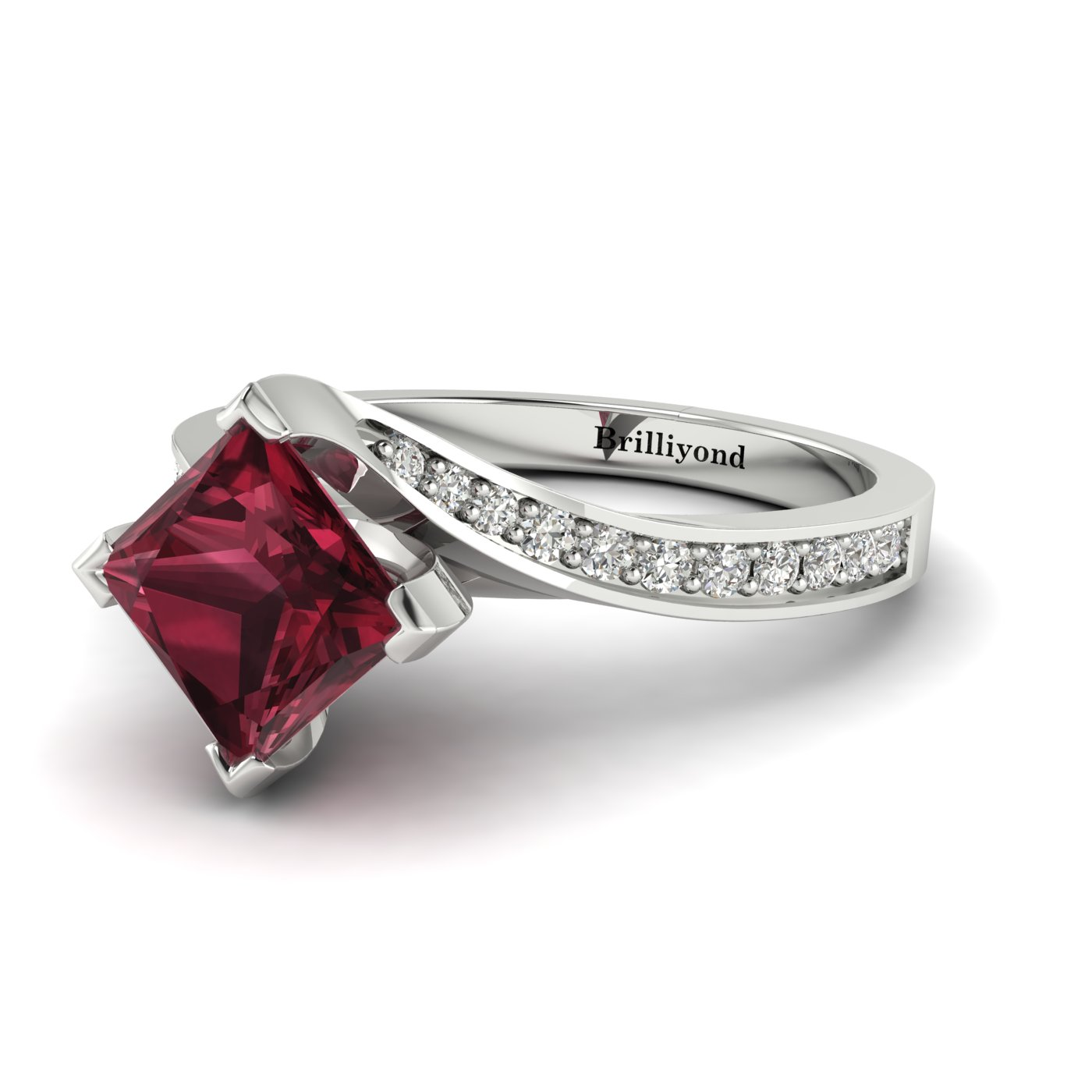 Garnet White Gold Cushion Cut Engagement Ring Luxy with White Sapphire Accents_image2
