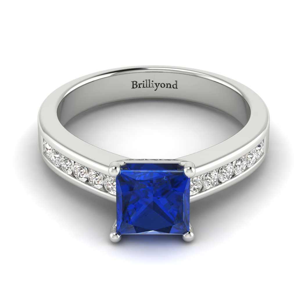 Blue Sapphire White Gold Princess Cut Engagement Ring Pharos with 6.4mm Royal Blue Sapphire_image1