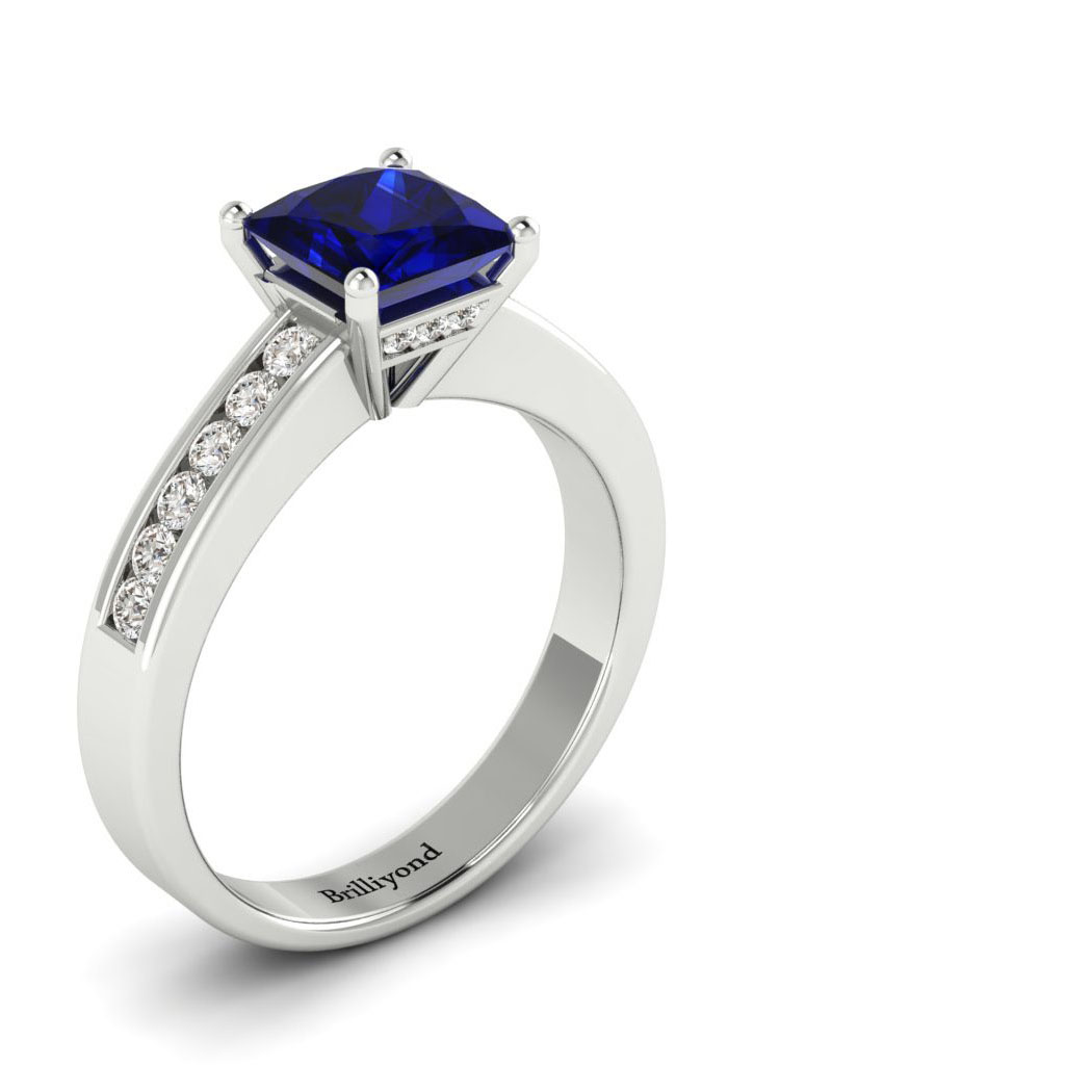 Blue Sapphire White Gold Princess Cut Engagement Ring Pharos with 6.4mm Royal Blue Sapphire_image2