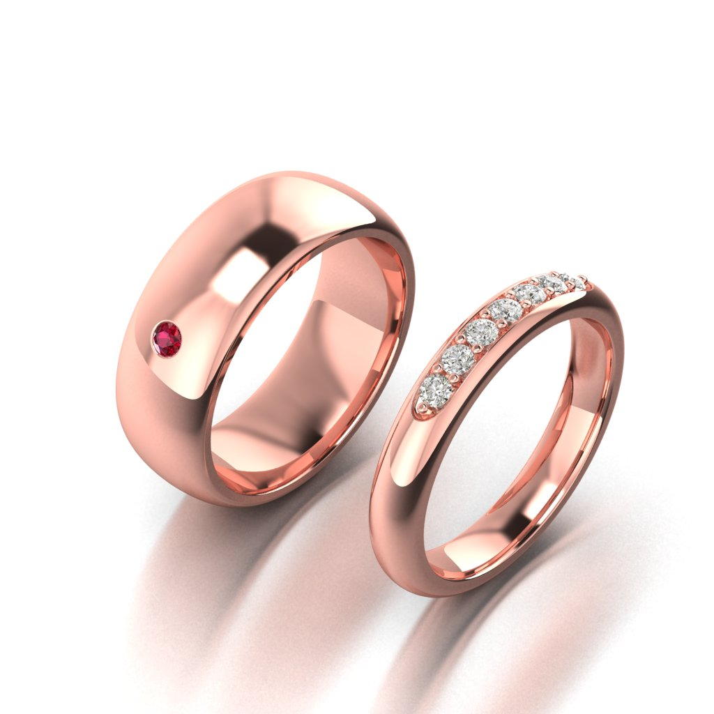 Wedding Band Pair and Mens Wedding ring for Byond Ruby Engagement Ring_image1