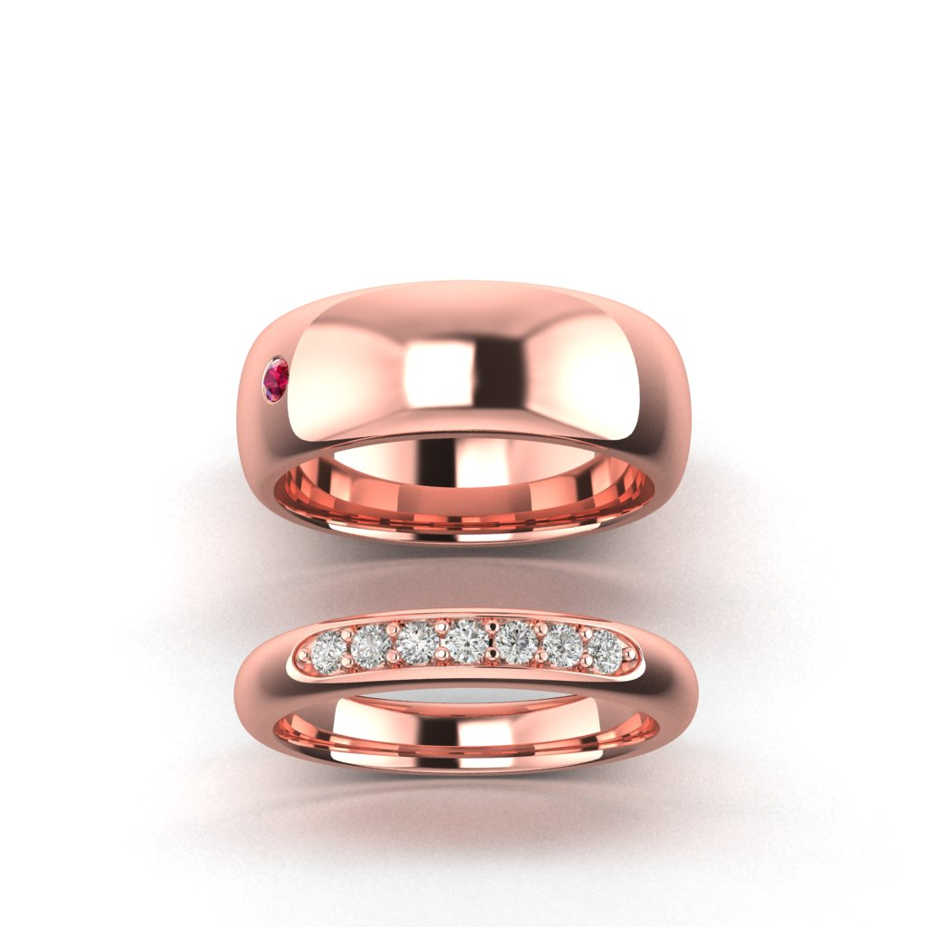 Wedding Band Pair and Mens Wedding ring for Byond Ruby Engagement Ring_image2