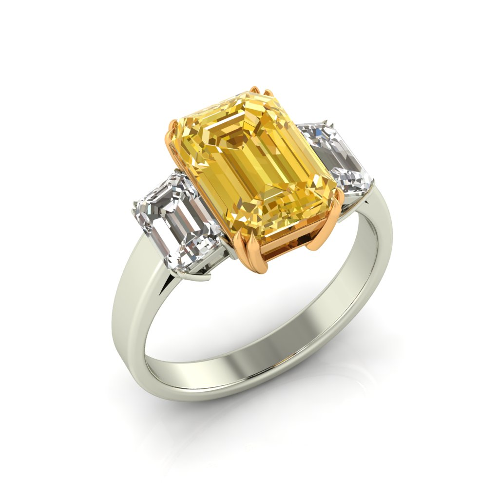 Emerald Cut Yellow Sapphire Engagement Ring Two Tone_image1